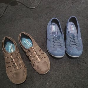 Pair of navy an a pair of brown Scetchers size 9